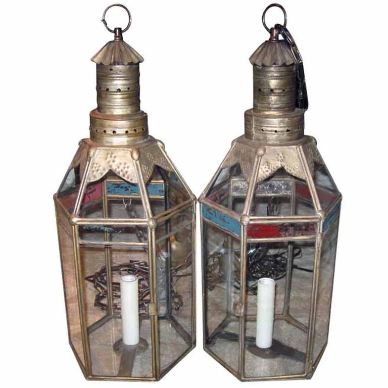 Pair of 1920s Moroccan Style Lanterns with Brass Frame