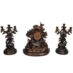 Walnut Black Forest Mantle Clock and Candelabras, circa 1870