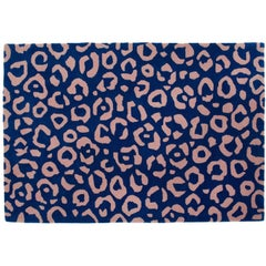 Aelfie Cheetah Animal Print Blue and Pink Tufted Rug 4'x6'