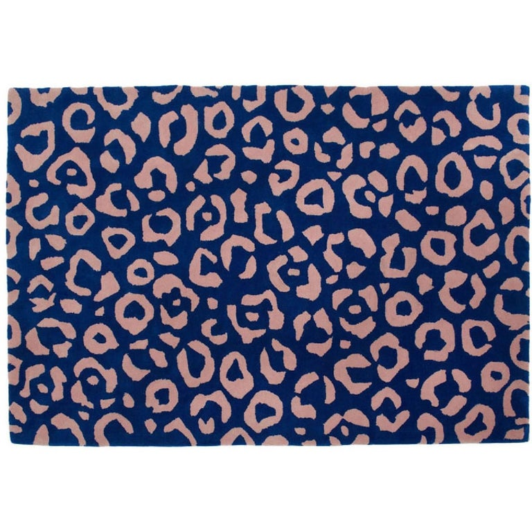 Aelfie Cheetah Animal Print Blue And Pink Tufted Rug 8x10 For
