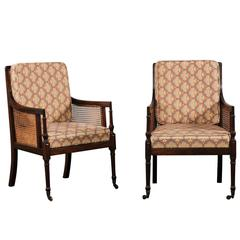 Pair of 19th Century Regency Mahogany Caned Library Chairs