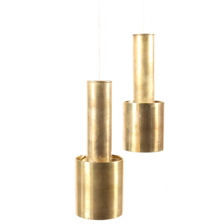 Pair of Rare Brass Pendants by Aalto