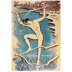 Original Vintage Pelligrini Art Exhibition Poster - Jubilaums Ausstellung Basel