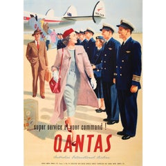 Original Vintage Australian Airline Travel Poster for Qantas - At Your Command!