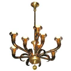 Eight-Arm Glass Chandelier by Ercole Barovier, circa 1935