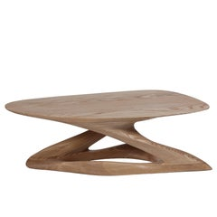 Coffee Table Dynamic Form Solid Ash Wood with Wood Stained Finish