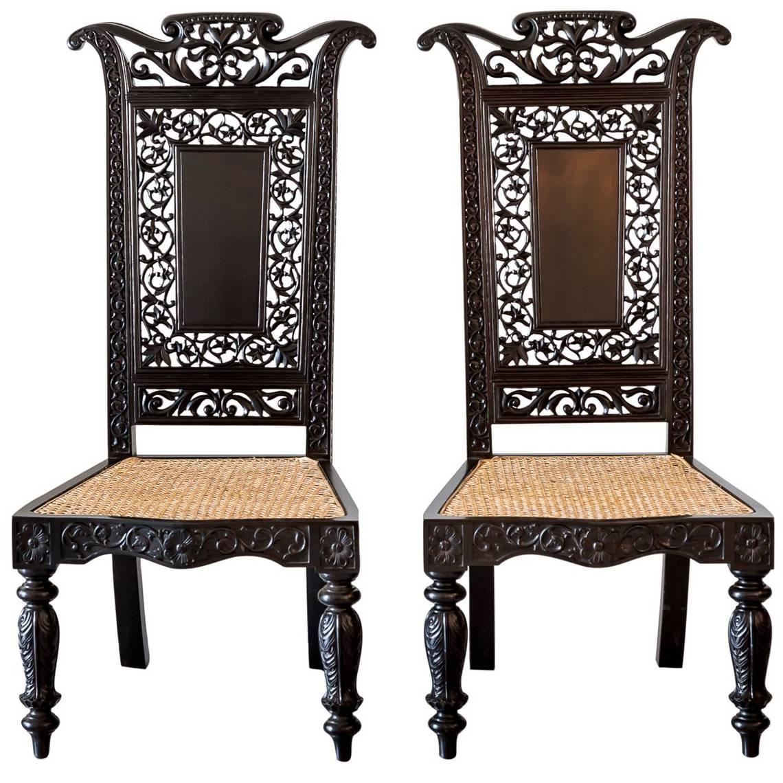 Pair Of Antique Anglo Indian Or British Colonial Ebony Prie Dieu Chairs
