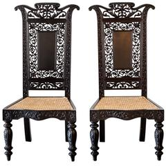 Pair of Antique Anglo-Indian or British Colonial Ebony Prie-Dieu Chairs