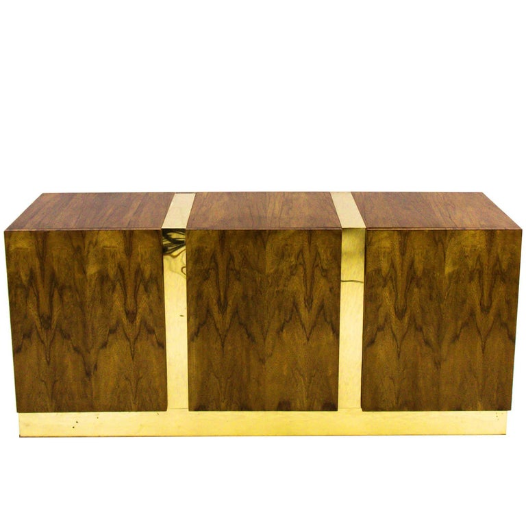 Zebra Wood and Brass Credenza by Milo Baughman