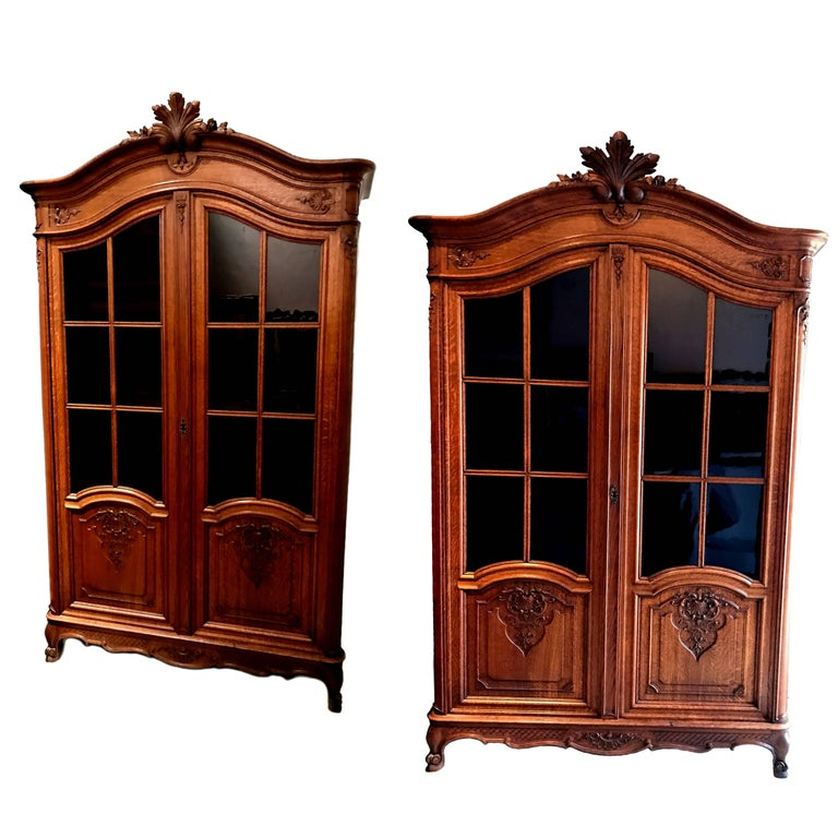 Pair of Vintage French Regency Armoires With Pane Glass Doors