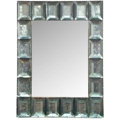 Modern Italian Aqua Green Faceted Glass Mirror