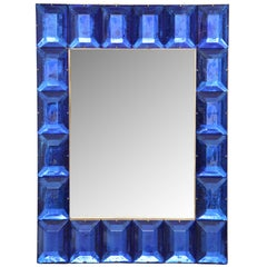 Customizable Faceted Murano Glass Mirror in Cobalt Blue