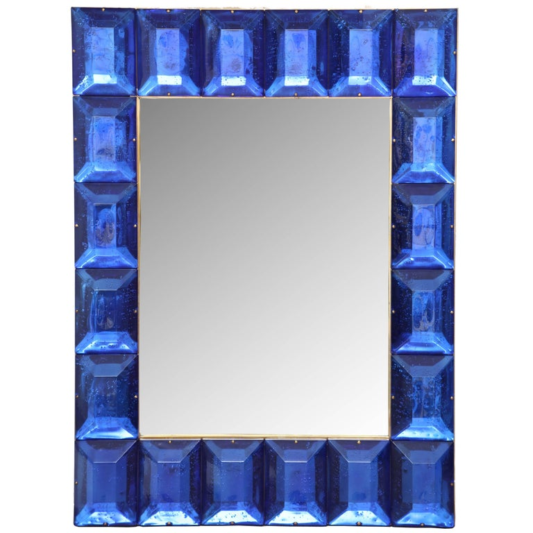Customizable Faceted Murano Glass Mirror in Cobalt Blue For Sale
