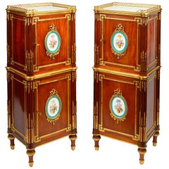 Pair of French Louis XVI Style Side Cabinets by Henry Dasson