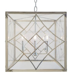 Art Deco Style Pendant, Polished Nickel and Antique Style Glass