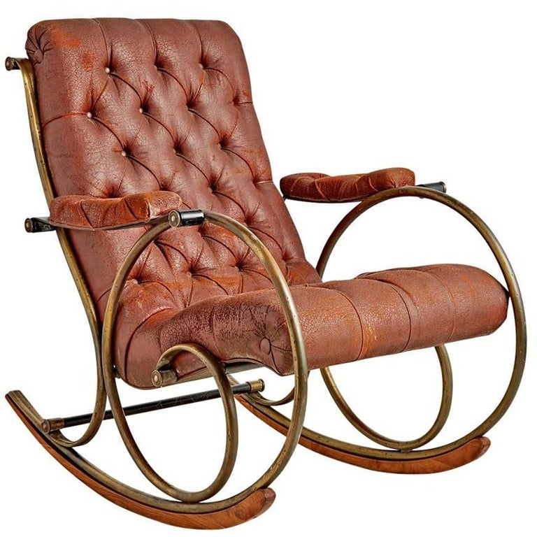 Lee Woodard Rocking Chair with Weathered Upholstery, circa 1970s 1