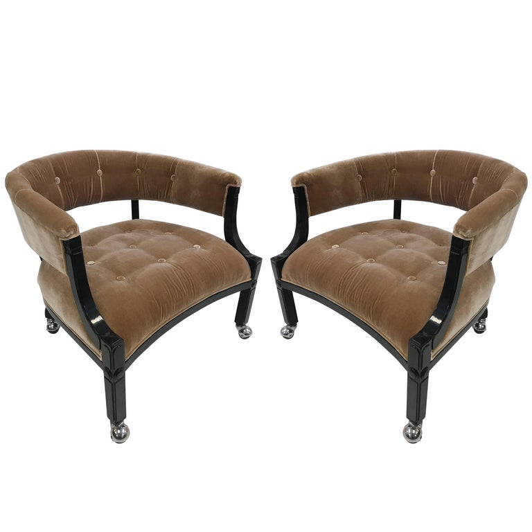 Pair of Hollywood Regency Lacquered Slipper Chairs