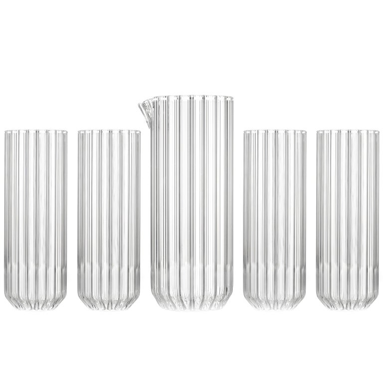 Contemporary Czech Minimal Carafe Pitcher with Four Collins Glasses Set In Stock