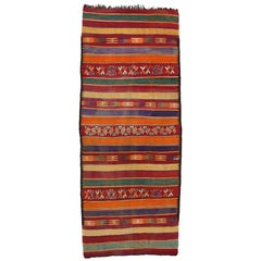Vintage Berber Moroccan Kilim with Tribal Boho Chic Style, Moroccan Gallery Rug