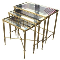 In the Style of Bagues, Mid-Century Trio of Brass Nesting Tables