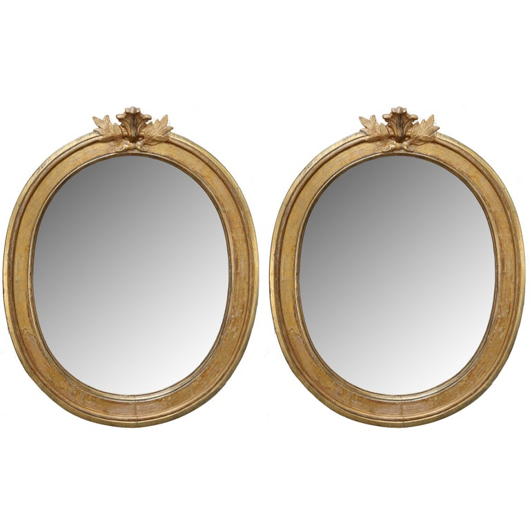 Pair of Antique Swedish Late Gustavian Giltwood Mirrors, Early 19th Century