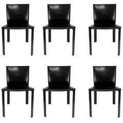 Set of Six Black Leather Chairs by deCouro of Brazil