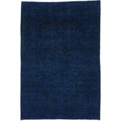 Distressed Vintage Persian Overdyed Blue Rug with Modern Style