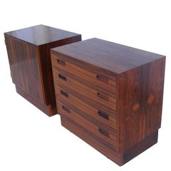 Pair of Danish Vintage Mid-Century Poul Hundevad Rosewood Nightstands