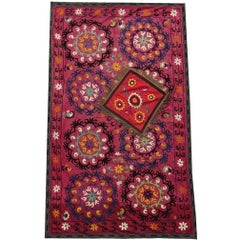 Uzbeki Silk Suzani and Silk Pillow Embroidery First Half of the 20th Century