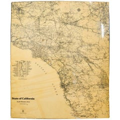 Lacquered Map of California South Western Area by AAA Automotive Club