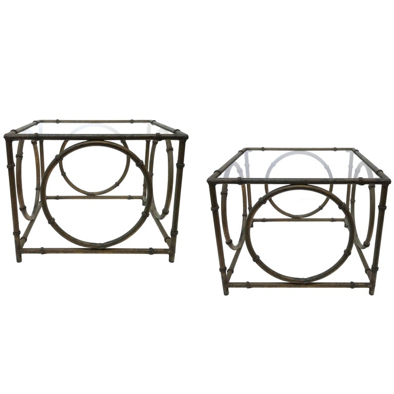 Pair of Italian Wrought Iron and Glass Side Tables For Sale