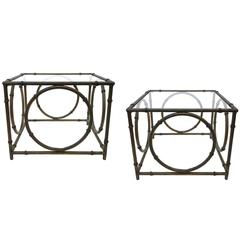Pair of Italian Wrought Iron and Glass Side Tables