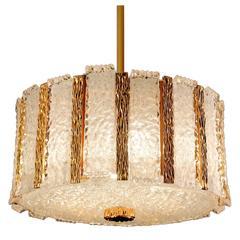 Kalmar Gold Bronze and Glass Chandelier, 1960s Modernist Design Pendant Light