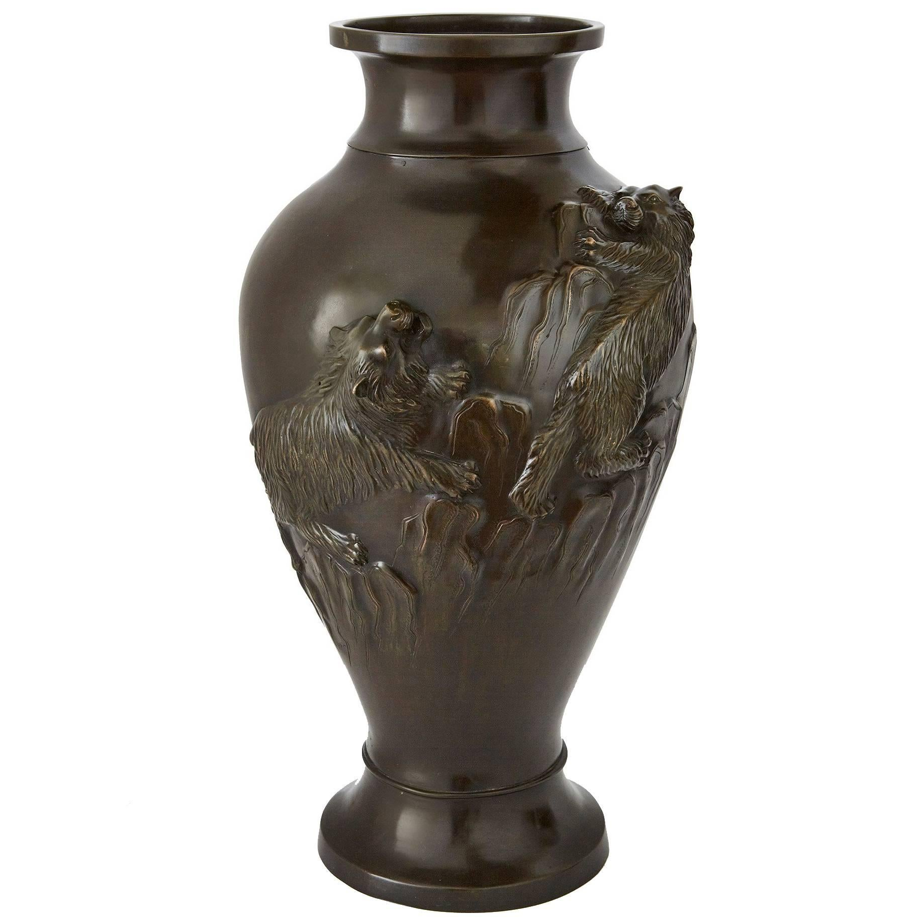 Antique Japanese Decorated Bronze Baluster Vase from the Meiji Period