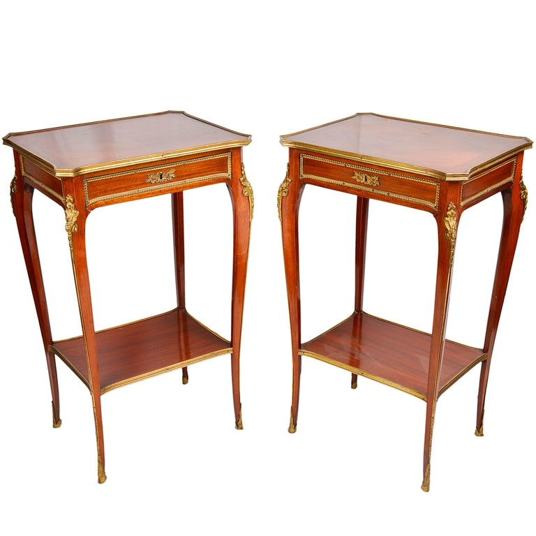 Pair of French Louis XVI Style Mahogany Side Tables