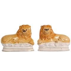 Pair of Vintage Ceramic Lion Figures