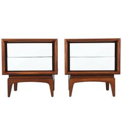 Mid-Century Two-Tone Lacquer and Walnut Night Stands