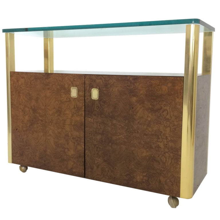 Burled Wood and Brass Console by Century Furniture Company