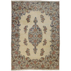 Antique Kerman Persian Rug with Traditional Style in Light Colors