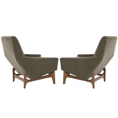 Scandinavian Modern Lounge Chairs on Sculptural Teak Bases