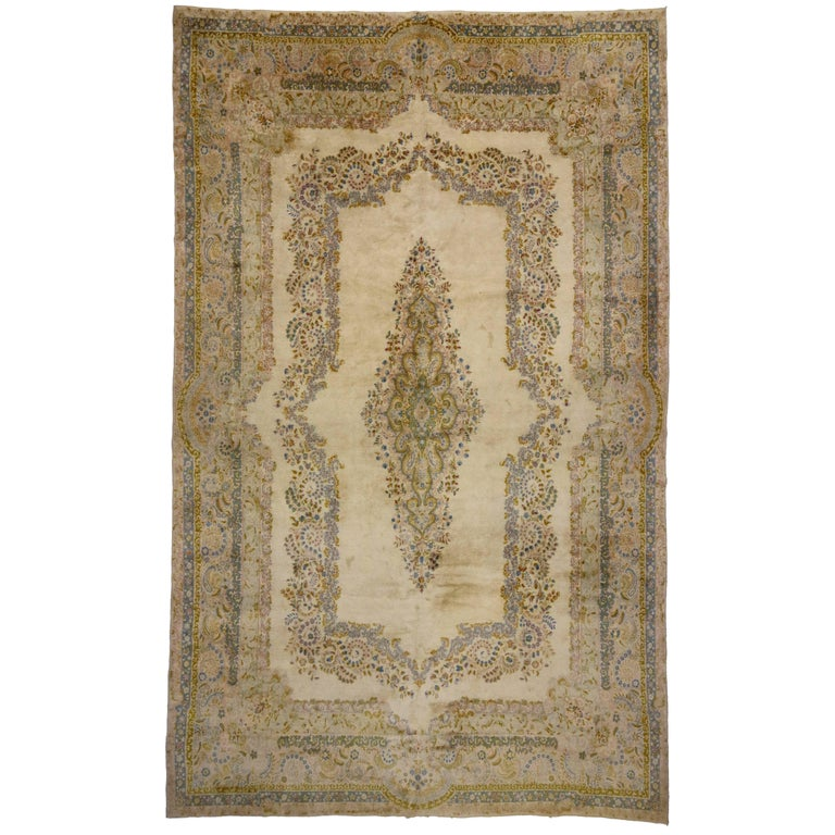 Antique Persian Kerman Rug with Traditional Style in Light Colors