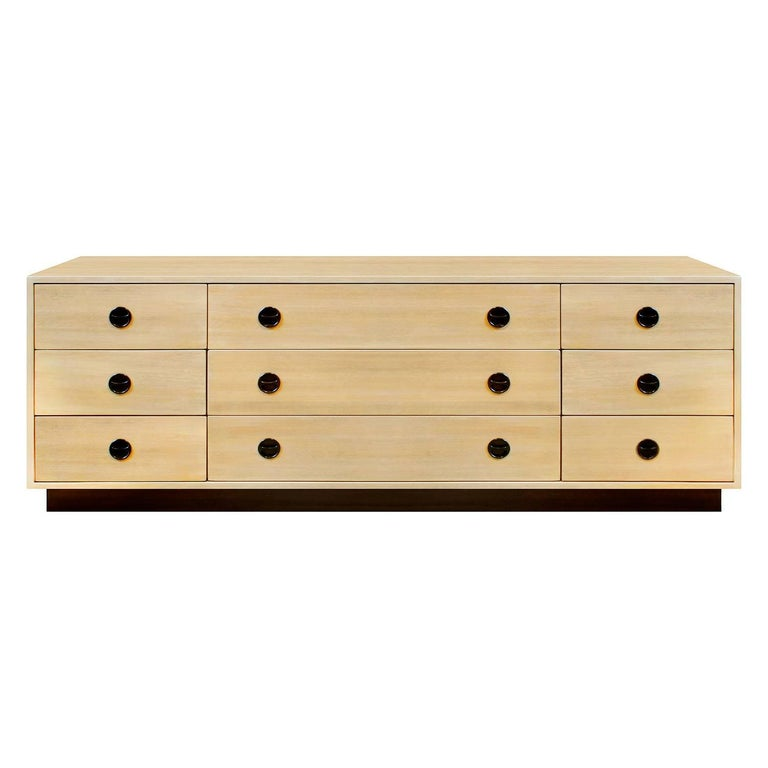 Harvey Probber Low Chest of Drawers with Inset Rosewood Pulls, 1950s