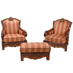 Pair of Michael Amini Tuscano Leather and Fabric Chairs with Ottoman