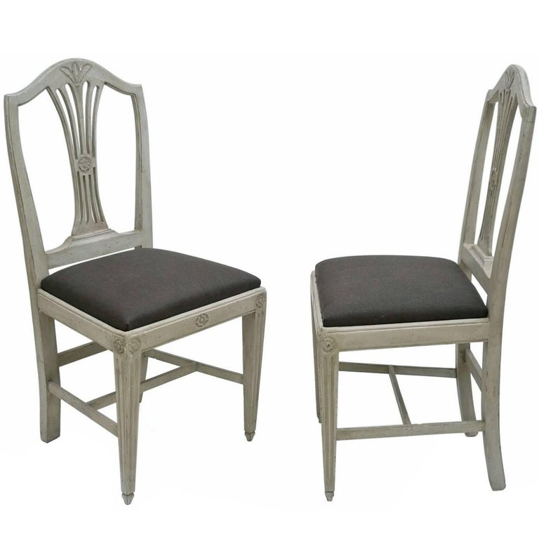 Pair of Painted Gray Italian Side Chairs with Upholstered Linen Seats