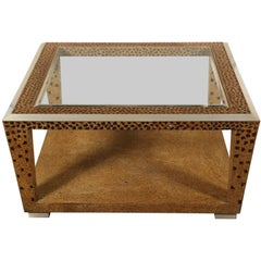 Large Square Mosaic and Glass Top Coffee Table