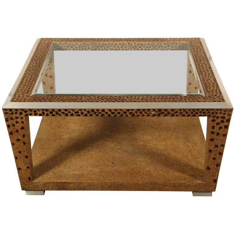 Large square mosaic and glass top coffee table for sale at for Large glass top coffee table