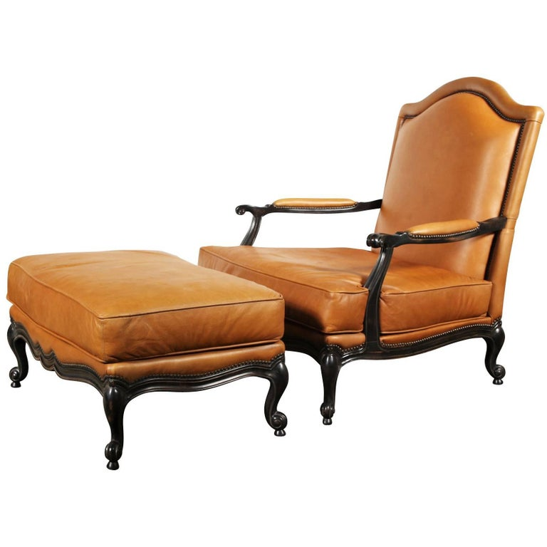 Large Leather Upholstered Berg 232 Re And Ottoman At 1stdibs
