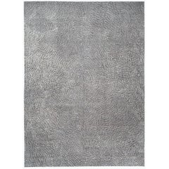 Blue, Grey and White Silk and Wool Area Rug