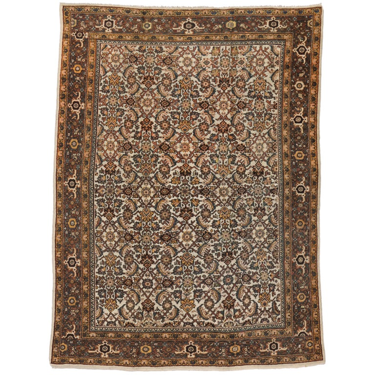 Antique Persian Mahal Rug with Herati Pattern and Rustic Arts & Crafts Style For Sale