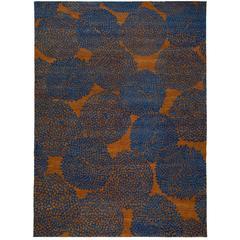 Tobacco and Indigo Blue Wool Rug with Dandelion Motif